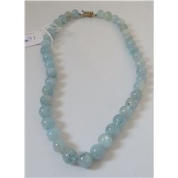 Aquamarine Stone Bead Necklace w/Sterling Clasp