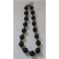 Sterling Silver & Onyx Stone Bead Necklace