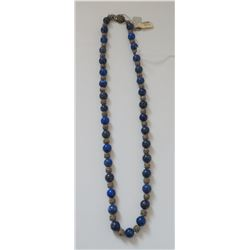 Sterling Silver & Lapis Lazuli Stone Bead Necklace