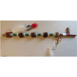 Fully-Beaded Pipe Stem w/Catlinite Pipe & Pewter Inlay