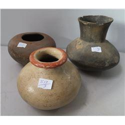 3 Pre-Columbian Ollas