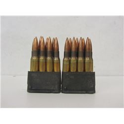 TWO LOADED M1 GARAND STRIPPER CLIPS