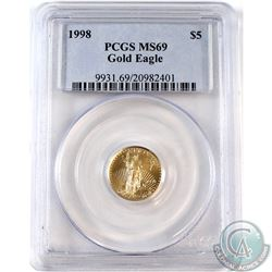 1998 USA 1/10th Oz Walking Liberty Gold PCGS Certified MS-69 (Tax Exempt)