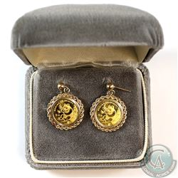 2x 1999 China Panda 5 Yuan 1/20 oz Gold Coins in 14 karat Gold Earring Bezel (Tax Exempt)