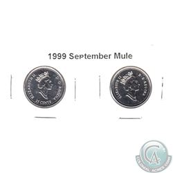 "1999 September Mule 25-cent ""Missing 25-cent"". Lot includes the regular and Mule 25-cent. 2pcs"