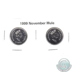 "1999 November Mule 25-cent ""Missing 25-cent"". Lot includes the regular and Mule 25-cent. 2pcs"