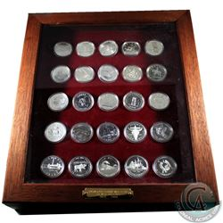 *1935-1988 Canada Commemorative Silver Dollar Collection in Deluxe wooden Display. Collection includ