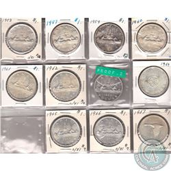 Estate Lot: Canada Silver Dollars Dated 1953 to 1957. 11pcs.