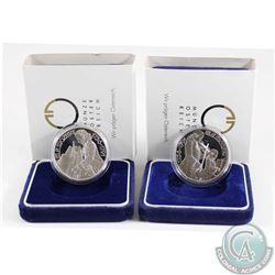1991 Austria 100 Shilling Mozart Wien & Mozard Salzburg Silver Proof Coins. 2pcs.