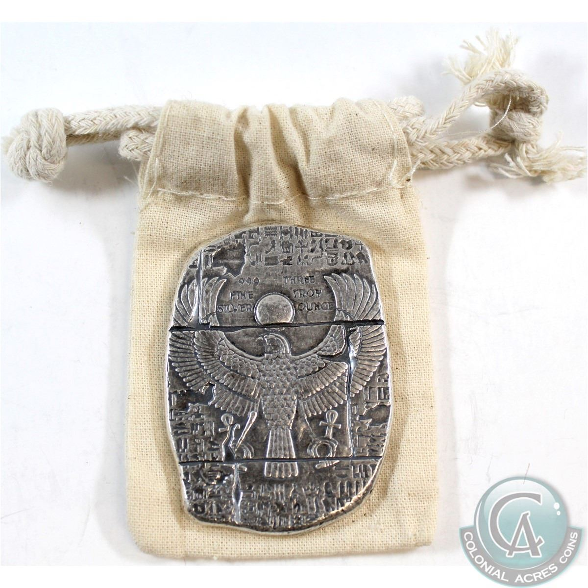 New 3 oz Egyptian Horus Relic Bar In a Cloth Bag .999 Fine Silver Bar