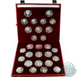 1980 Moscow Olympic Silver 5 Roubles & 10 Roubles 28-coin Set in original leatherette Display. Set c