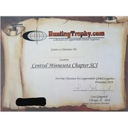 TROPHY CLEARANCE CERTIFICATE