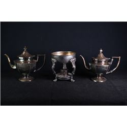 A set of European style copper tableware, total 3 pieces.
