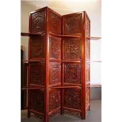A solid wood folding screen + antiques shelf.