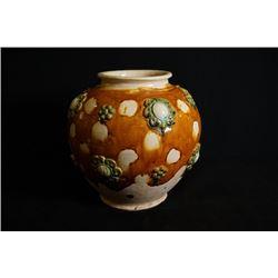 """A big """"Tang San Cai"""" jar."""