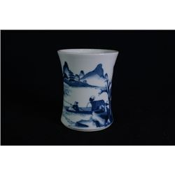 Middle Qing Dynasty, a small blue and white brush pot.