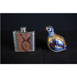 "A small Portable flagon. A small ""chicken"" decoration."