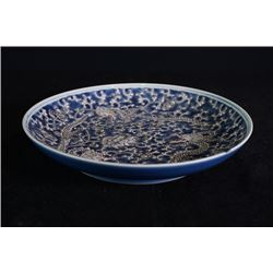 "A blue-glazed on white ""Dragons"" plate."