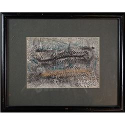 "A ""fossil tube"" painting decoration with framing."