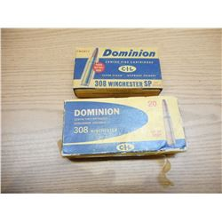 ASSORTED DOMINION 308 WIN AMMO & BRASS
