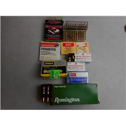 ASSORTED 222 REM, 22 AMMO, BULLETS & PRIMERS