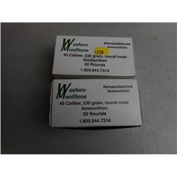 WESTERN MUNITIONS 45 CAL REMANUFACTURED AMMO