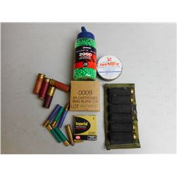 ASSORTED SHOTGUN AMMO, BLANKS, AND BBS