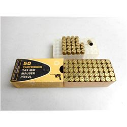 ASSORTED 7.63MM MAUSER PISTOL AMMO