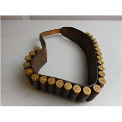 LEATHER 12 GA CARTRIDGE BELT WITH AMMO