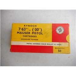 KYNOCH 7.63 MM (.30) MAUSER AMMO