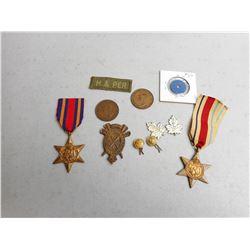 ASSORTED CAMPAIGN STARS & WAR KEEPSAKES