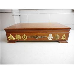 WOODEN BOX WITH HAT BADGES & TOYS