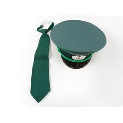 EAST GERMAN OFFICERS HAT & GREEN TIE