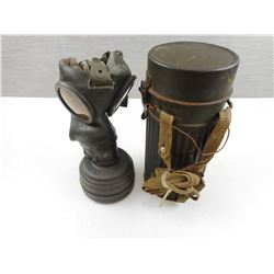 WWII GERMAN GAS MASK WITH CAN