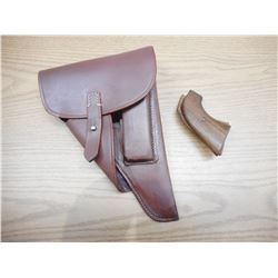 BROWN P38 HOLSTER WWII REPRODUCTION & WOODEN GRIPS