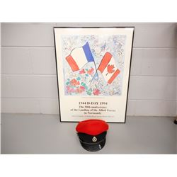 ALLIANCE FRANCAIS D-DAY POSTER & BRITISH OFFICERS CAP