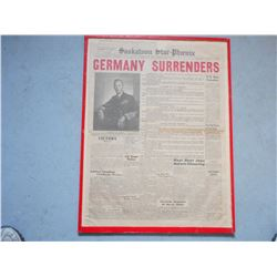 MOUNTED GERMAN WWII SURRENDER NEWSPAPER PAGE