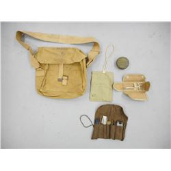 ASSORTED WWII SATCHEL/ POUCHES & KITS
