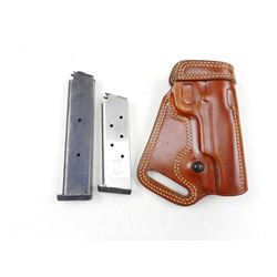 9MM MAGAZINES & LEATHER HOLSTER