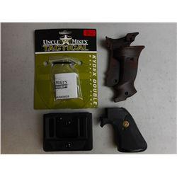 ASSORTED GUN GRIPS & MAG HOSLTER