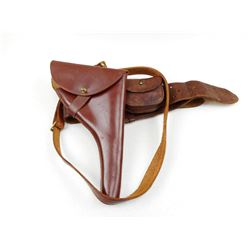 BROWN LEATHER BELT WITH HOLSTER