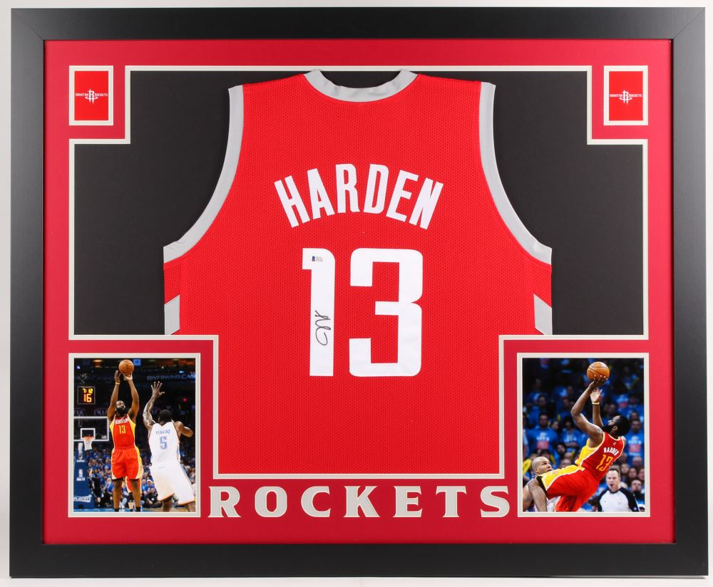 pretty nice 12898 ab605 James Harden Signed Rockets 35x43 Custom Framed Jersey ...