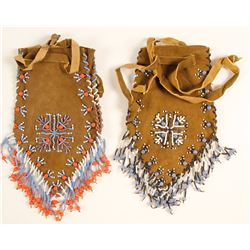 2 Native American Beaded Pouches
