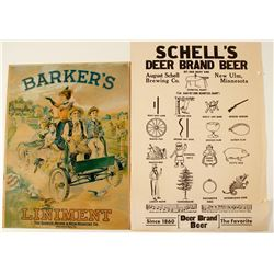 Posters of Barker's Liniment & Shell's Deer Brand Beer