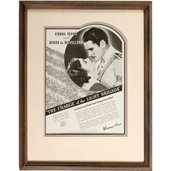 Framed Errol Flynn and Olivia de Havilland Broadside
