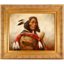 Oil on Canvas by Troy Denton (Indian Chief)