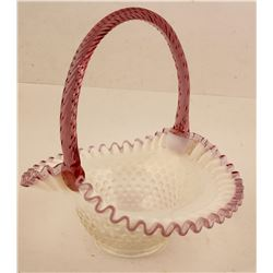 Hobnail Basket , With handle. ( By Fenton )