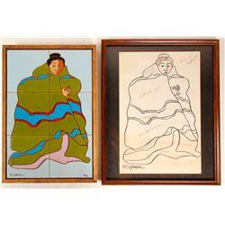 "R.C. Gorman Triptych #2 & Signed 17"" x 21"""