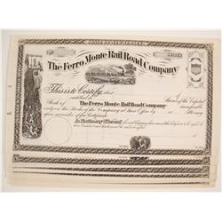 Ferro Monte Railroad Company Stock Certificates