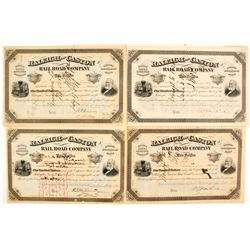 Raleigh and Gaston Rail Road Stock Certificates